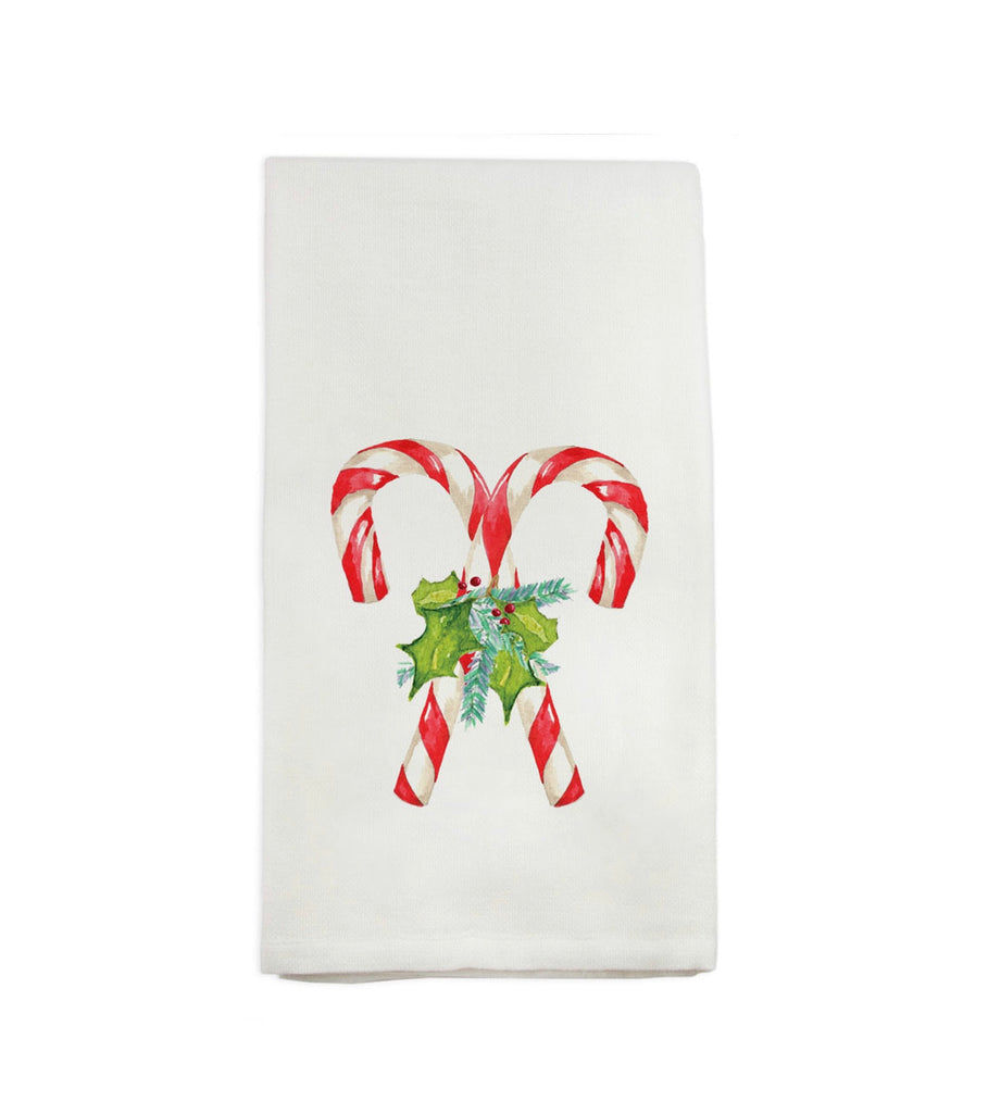 French Graffiti Candy Cane with Greens Dish Towel
