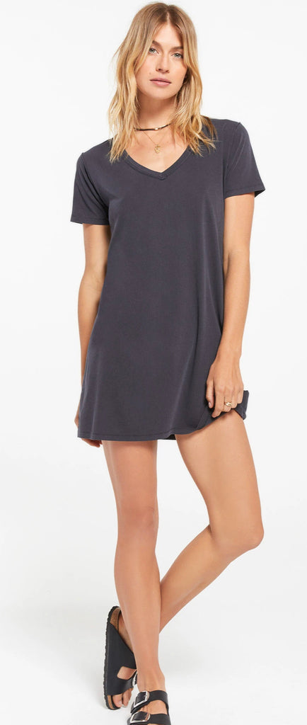 Z Supply Organic Cotton T-Shirt Dress in Washed Black