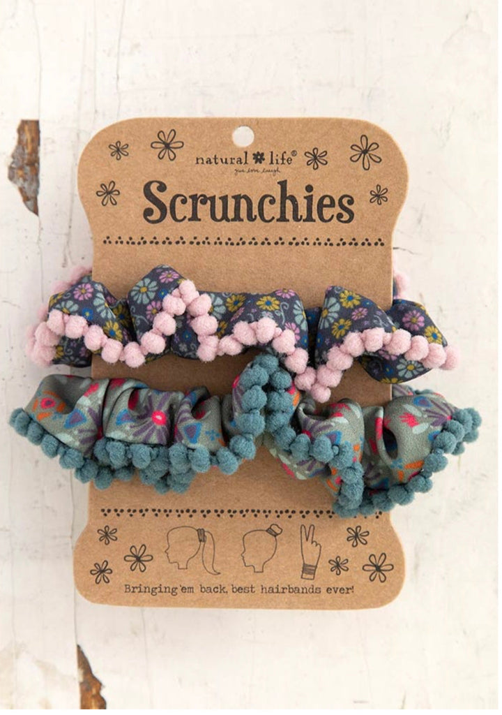 Natural Life Pompom Scrunchie -Blue Ditsy