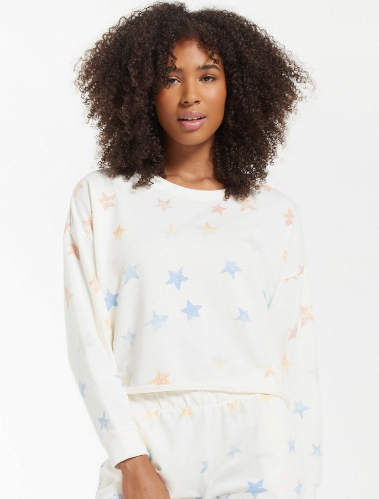 Z Supply Lia Rainbow Star Sweatshirt- Sand Dollar