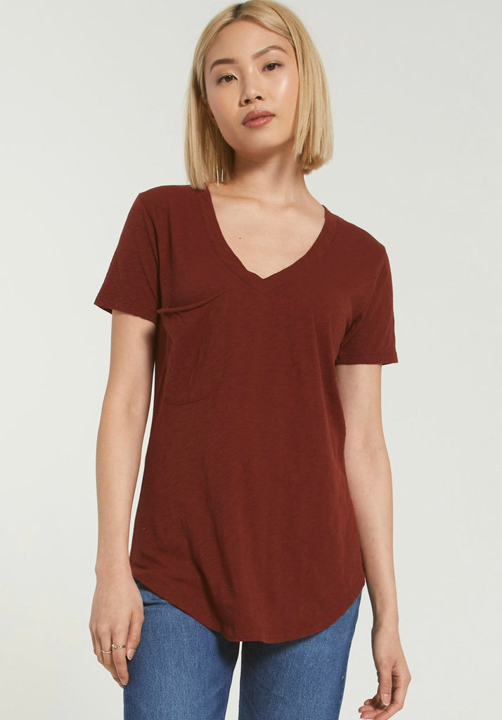 Z Supply Cotton Slub Pocket Tee in Burnt Red