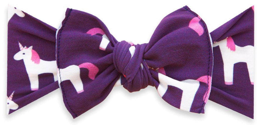 Baby Bling Printed Knot Headband- Plum Unicorn
