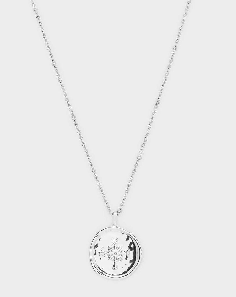 Gorjana Compass Coin Necklace- Silver