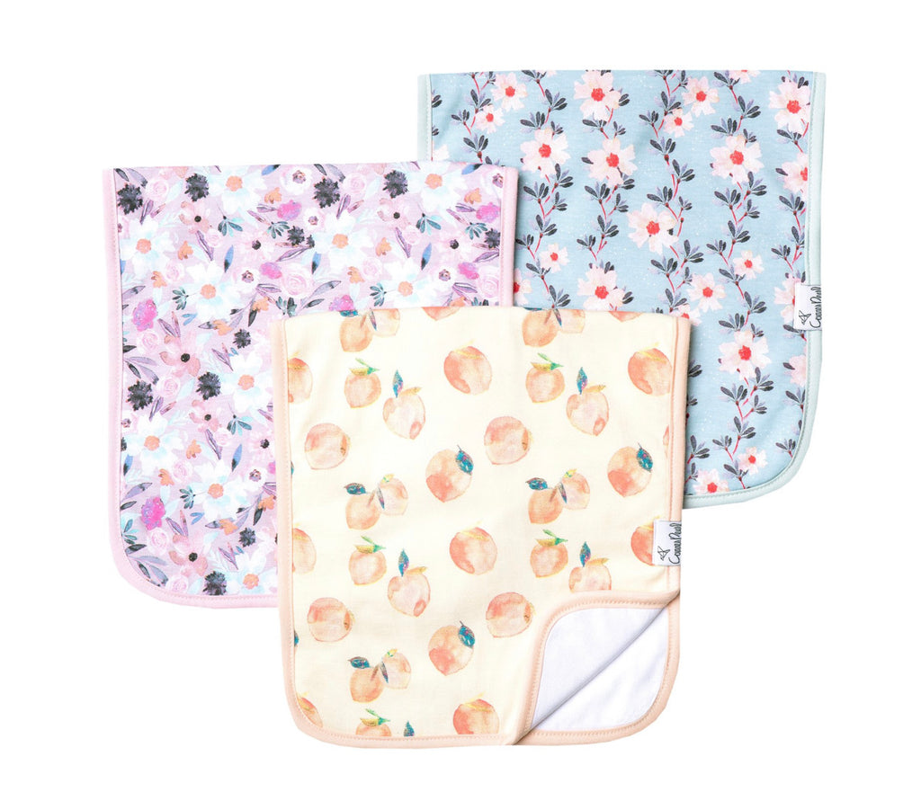 Copper Pearl Baby Burp Cloths Set of 3
