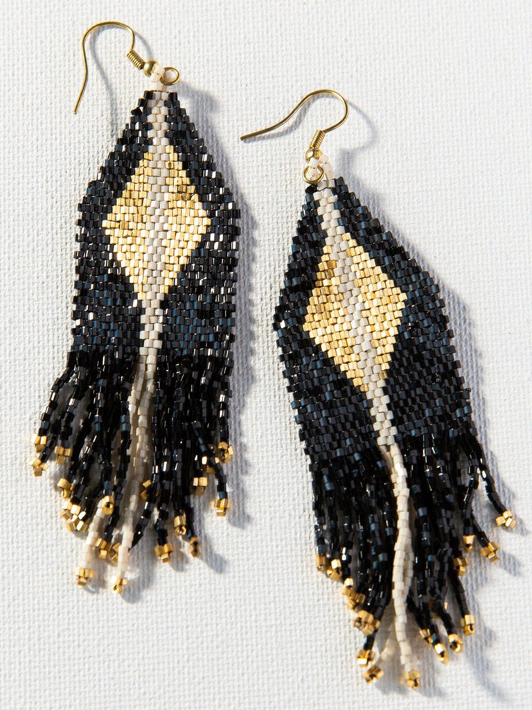 Ink + Alloy Black with Gold Luxe Diamond Fringe, 4.25""