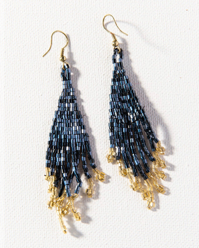 Ink + Alloy Blue and Gold Small Fringe, 3.75""