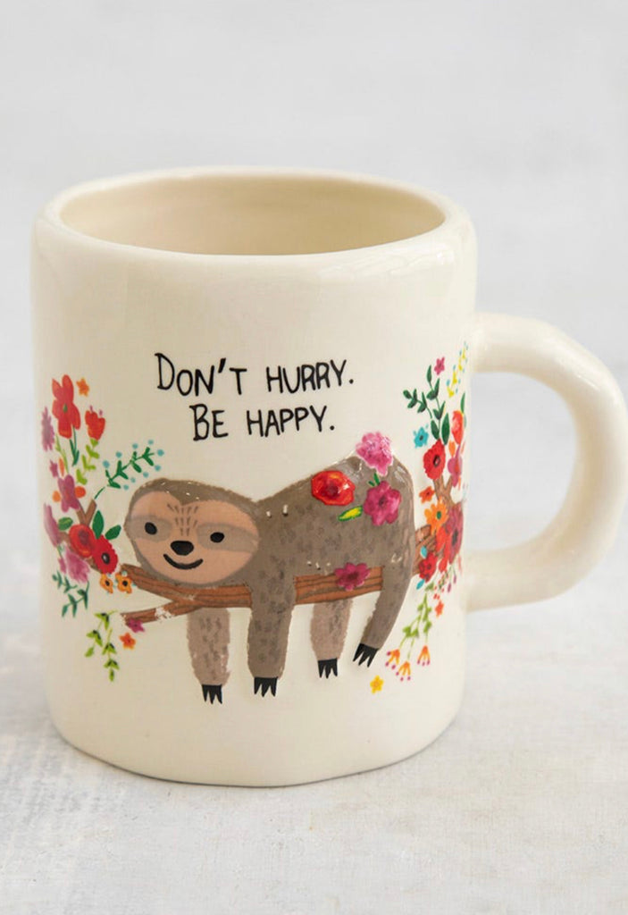 Natural Life Embossed Mug- Sloth