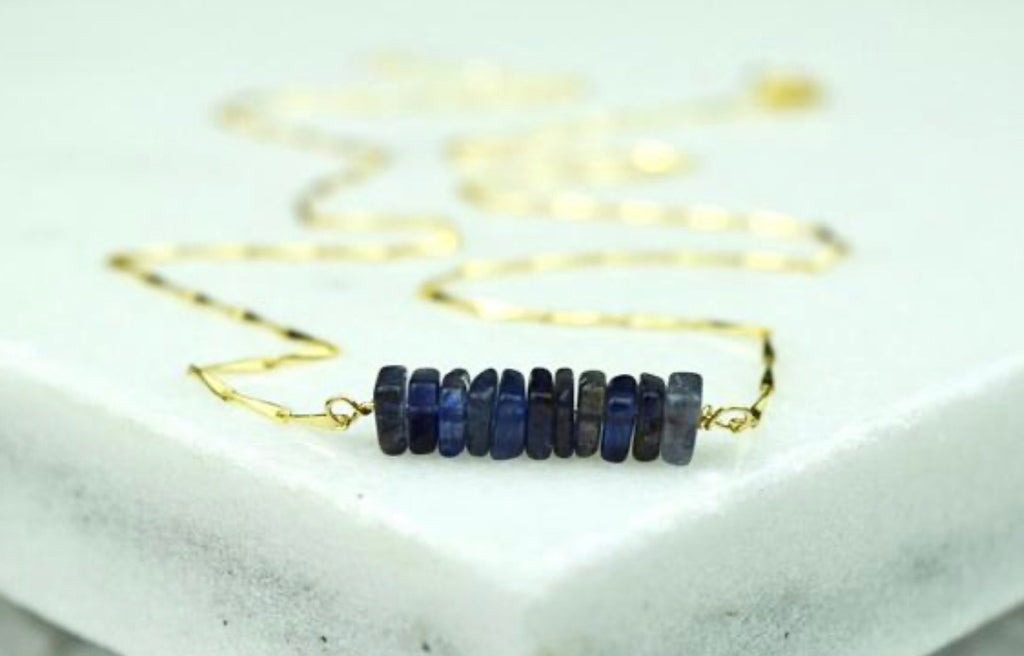 Rory Ashton- Birthstone Bar Necklace September