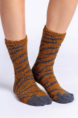 PJ Salvage Plush Tiger Stripe Socks in Camel