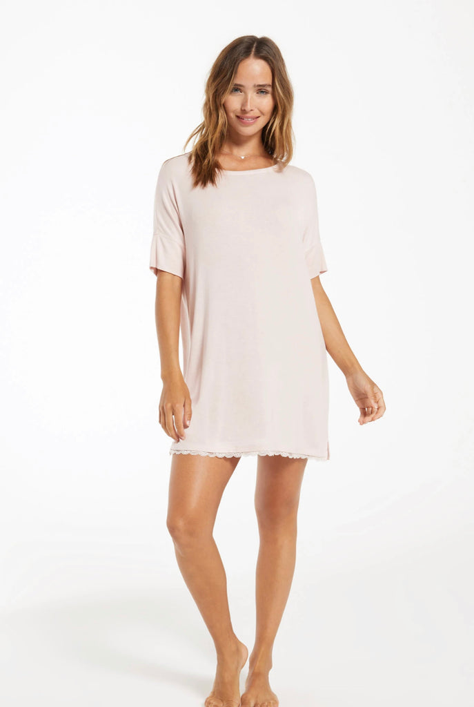 Z Supply Girlfriend Rib Nightie in Rose Quartz