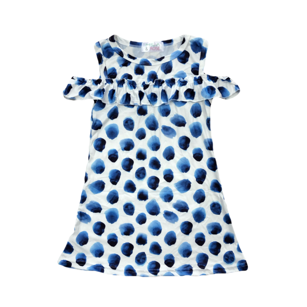 Indigo Dot Cold Shoulder Dress