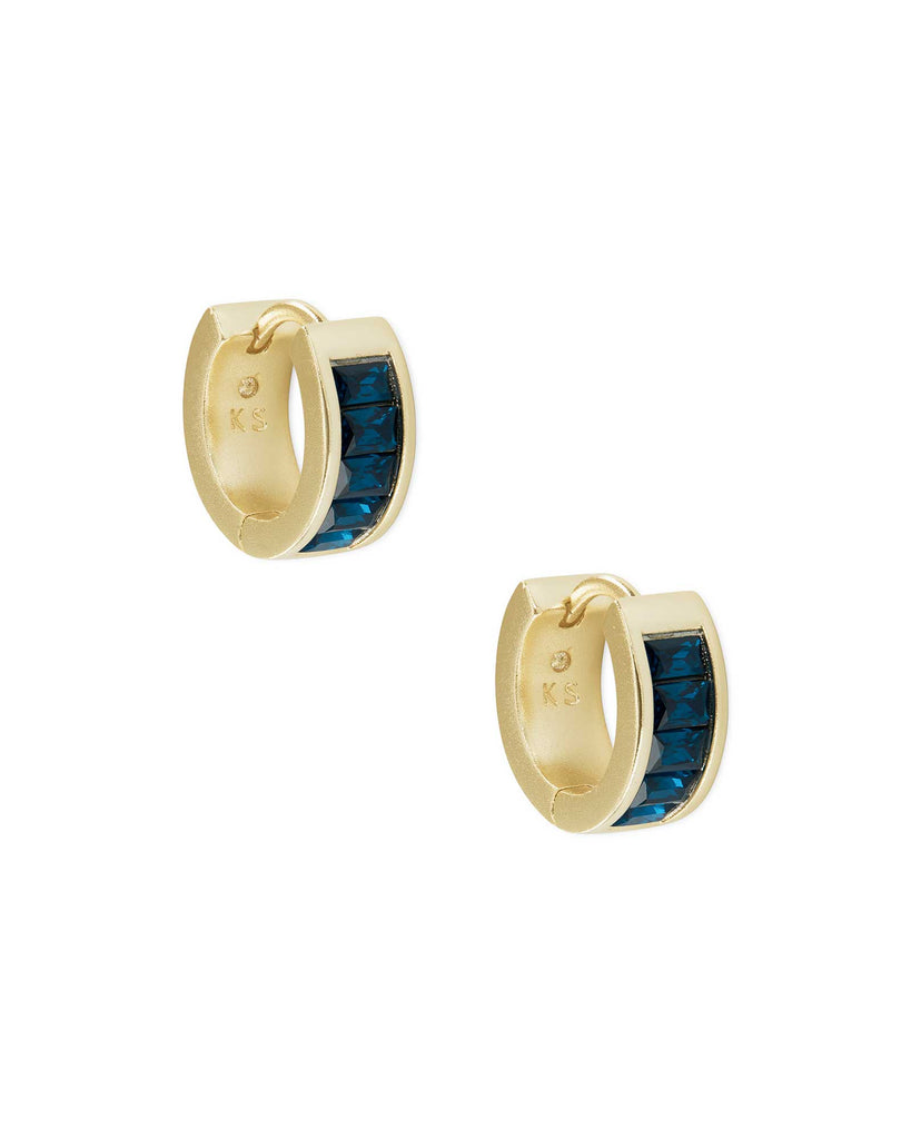 Kendra Scott Jack Gold Huggie Earrings in Peacock Blue Crystal