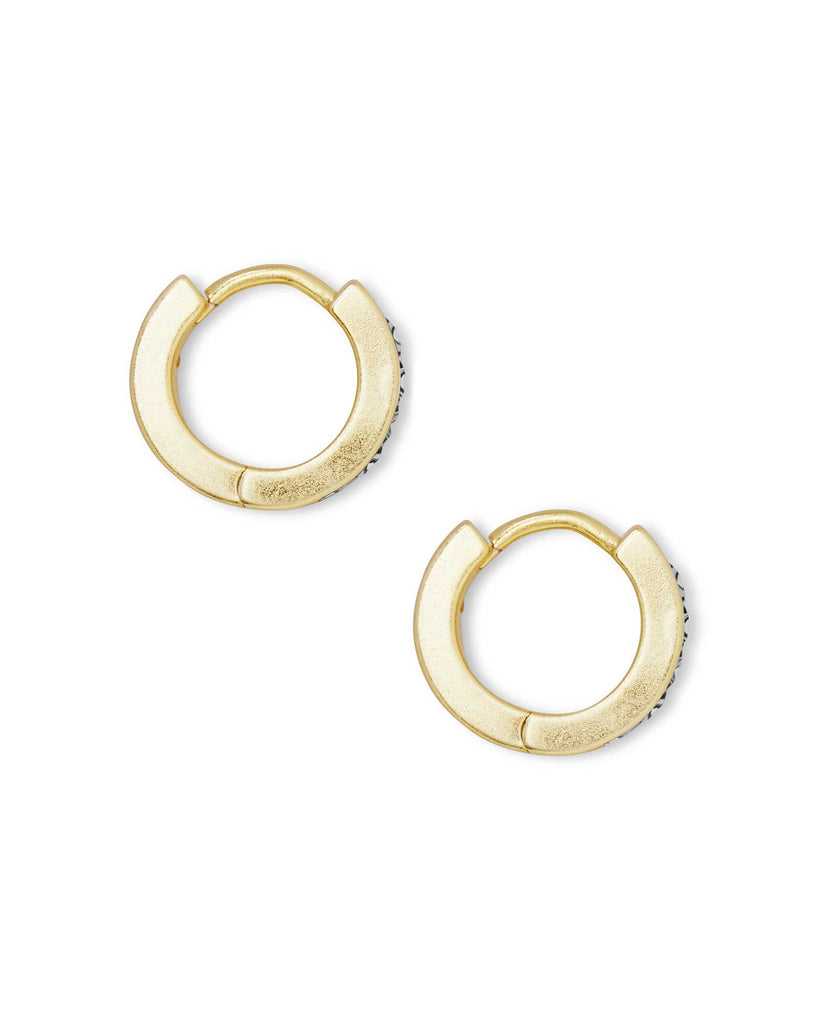 Kendra Scott Jack Gold Huggie Earrings in White Crystal