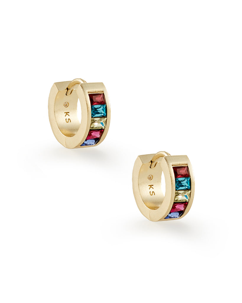 Kendra Scott Jack Gold Huggie Earrings in Multi Crystal