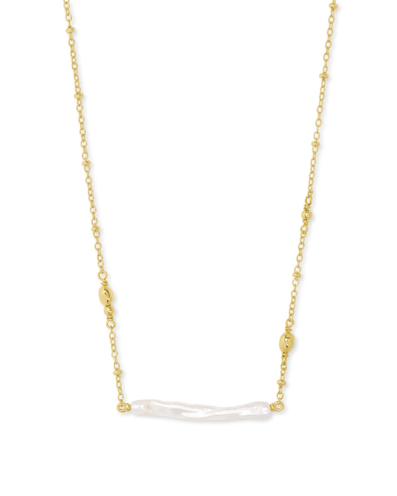 Kendra Scott Eileen Pendant Necklace- Gold White Pearl