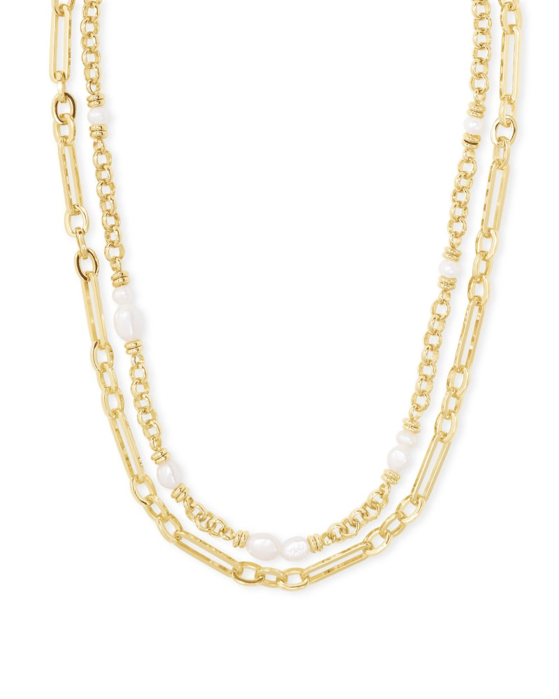 Kendra Scott Mollie Multi Strand Necklace- Gold White Pearl
