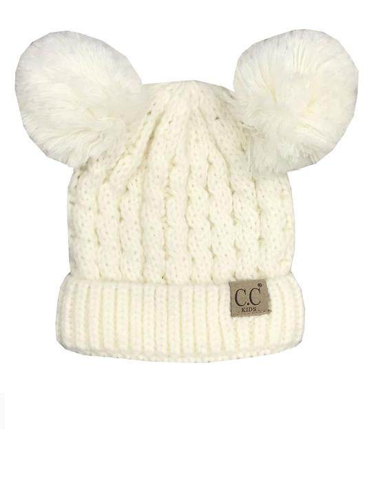 Kids Pom Pom C.C. Beanies - 2 Colors Available