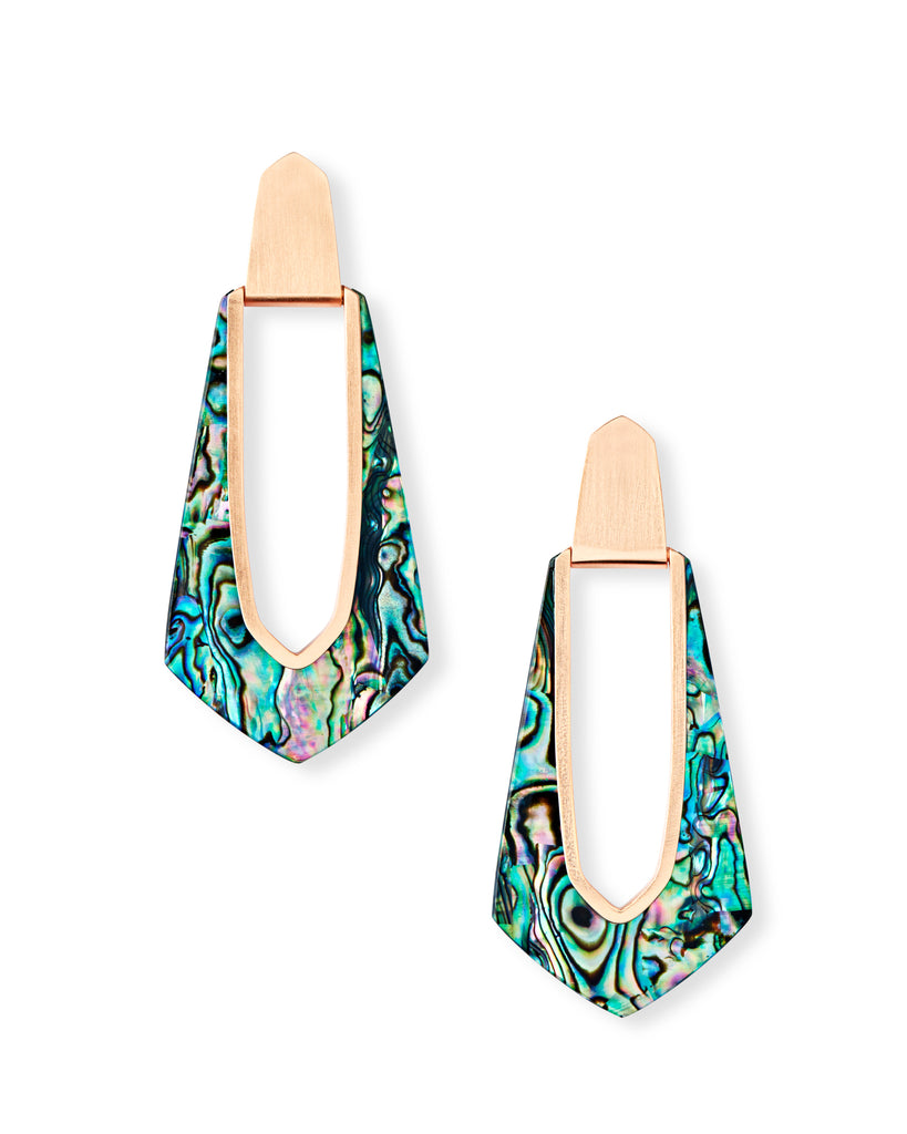 Kiernan Rose Gold Hoop Earrings In Abalone Shell