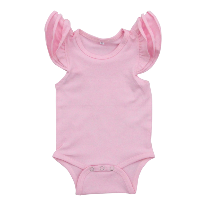 Short Sleeve Flutter Body Suit in Light Pink
