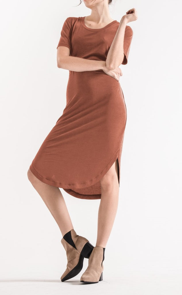 Z T Luxe Modal Tie Waist Dress in Clay