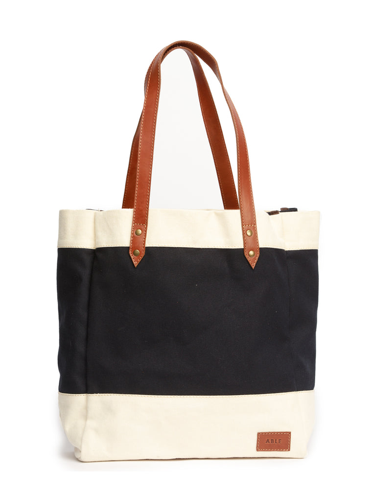 ABLE Canvas Market Tote - Natural/Navy