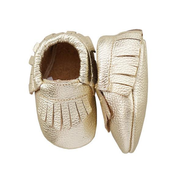 Leather Moccasins in Metallic Gold