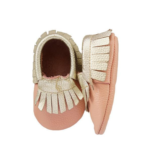 Leather Moccasins - Pink and Gold