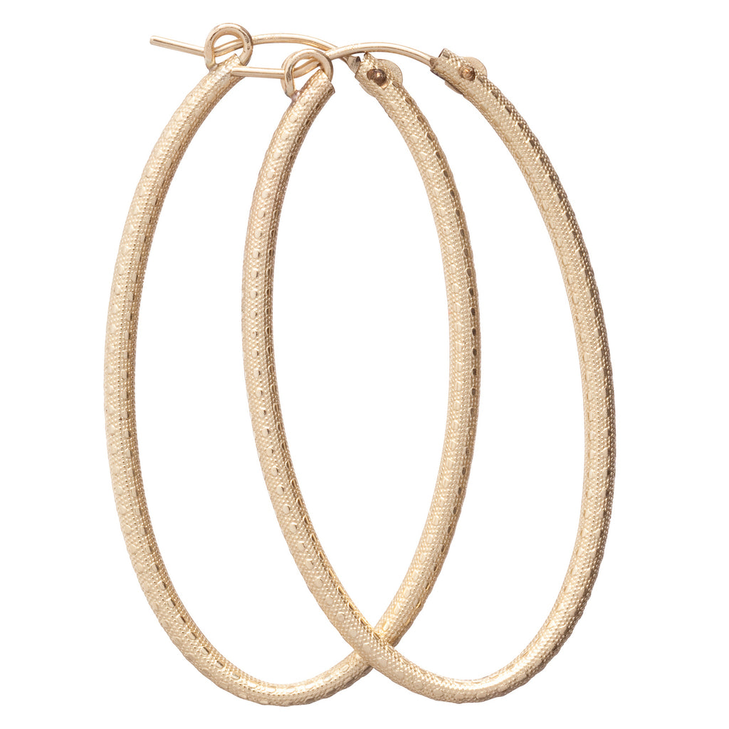 enewton Oval Textured Gold Hoops  - 2""
