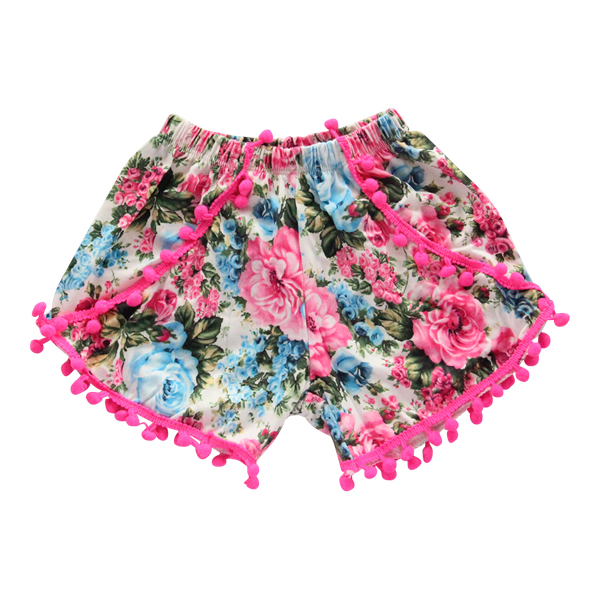 Pink and Blue Floral Pom Pom Shorts