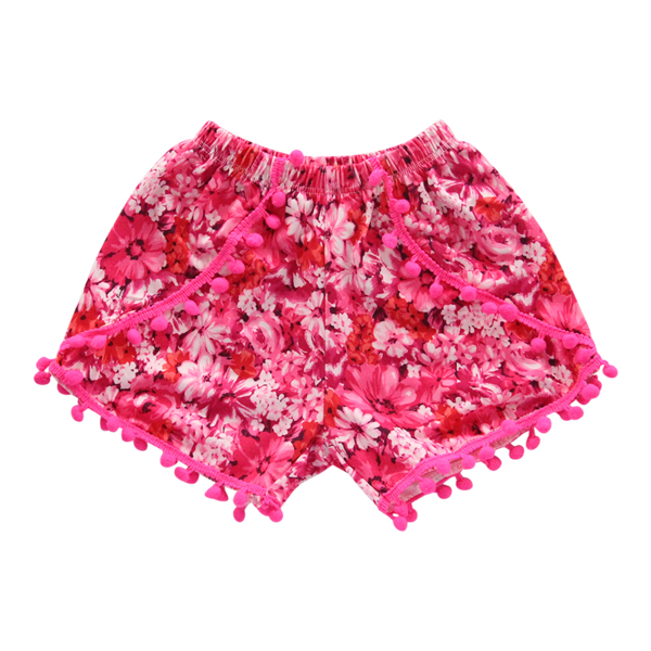 Pink and Red Floral Pom Pom Shorts