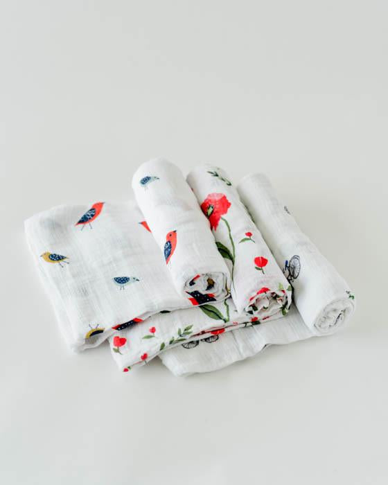 Little Unicorn Muslin Swaddle Set of 3 - Summer Poppy