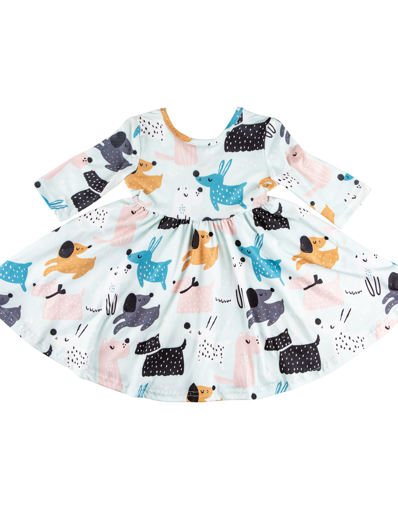 Puppy Party 3/4 Sleeve Twirl Dress