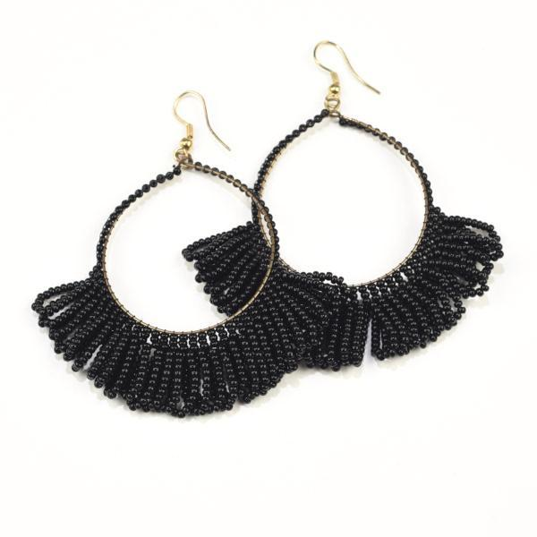 Ink + Alloy Seed Bead Fringed Hoop Earrings