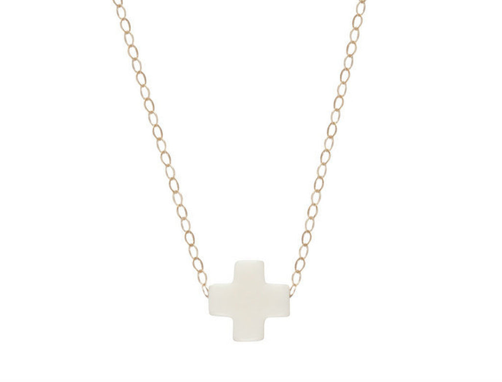 "Enewton Designs Signature 16""  Cross Necklace-Off White"