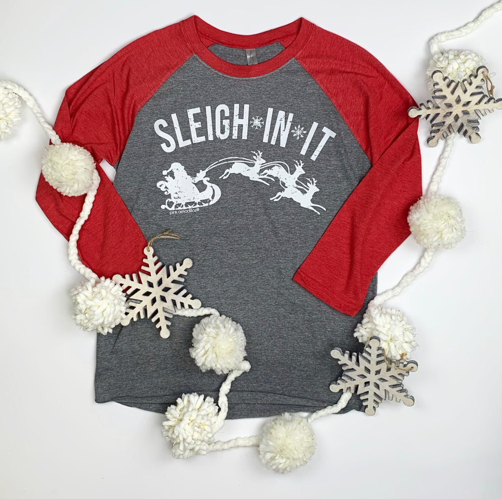 Sleigh In It Holiday Baseball Tee