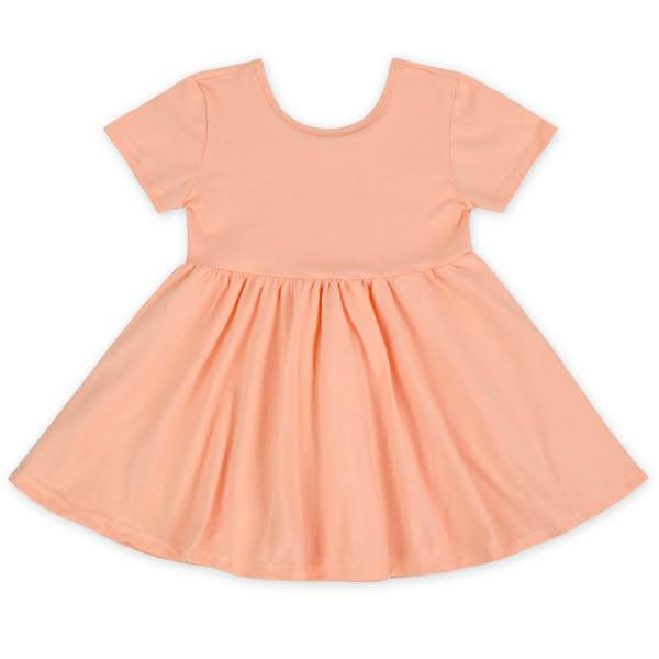 Short Sleeve Twirl Dress in Peach