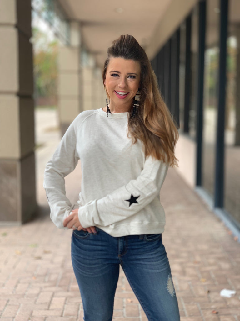 Star Embroidered French Terry Top