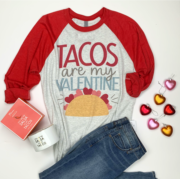 Tacos Are My Valentine Graphic Baseball Tee