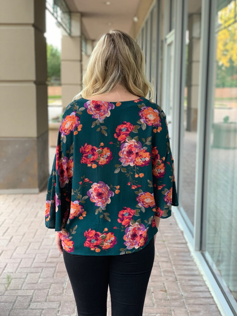Hunter Green Floral Tie Front Top