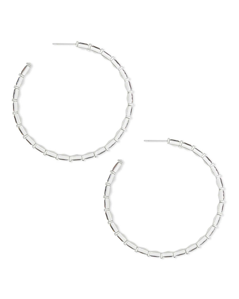 Kendra Scott Thora Silver Hoop Earrings in Grey Crystal
