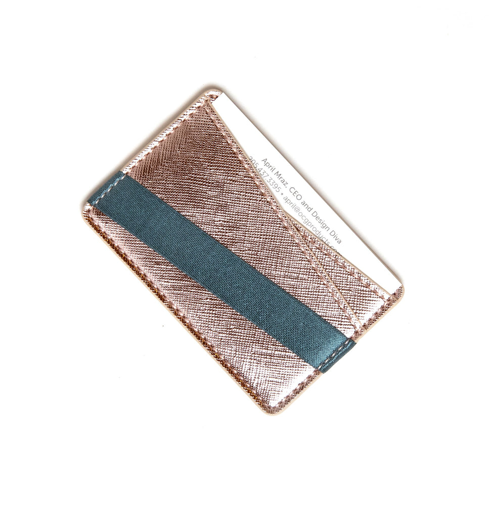 To Have and To  Hold Wallet in Rose Gold/Navy