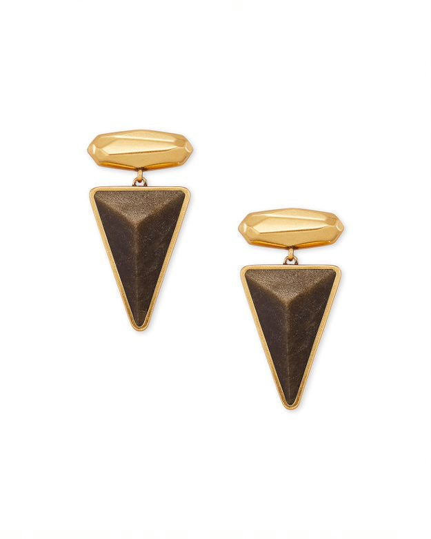 Kendra Scott Vivian Statement Earring in Golden Obsidian