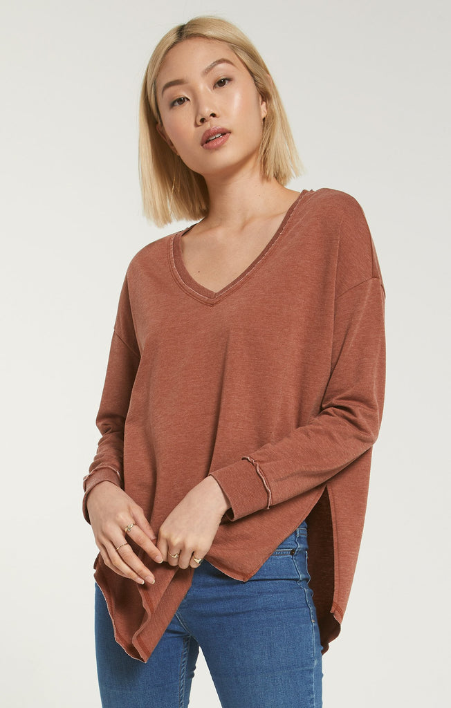 Z Supply V-Neck Weekender Top in Whiskey