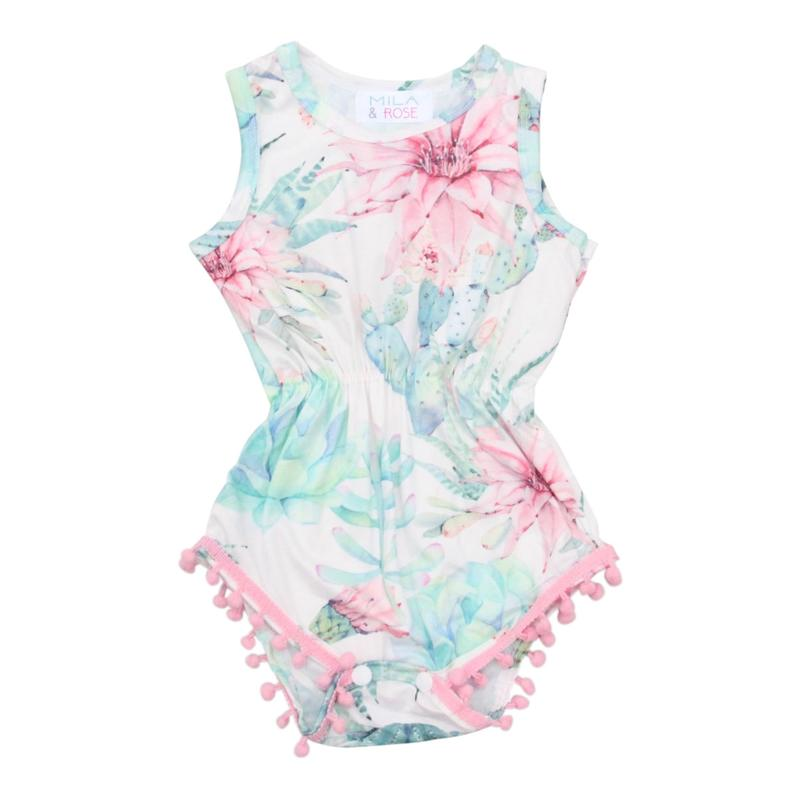 Watercolor Succulent Pom Pom Romper