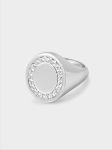Oval White Stone Set Ring