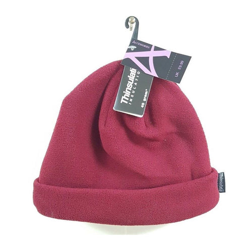 Burgundy Fleece Thermal Hat for Ladies in Winter 959097bbd23