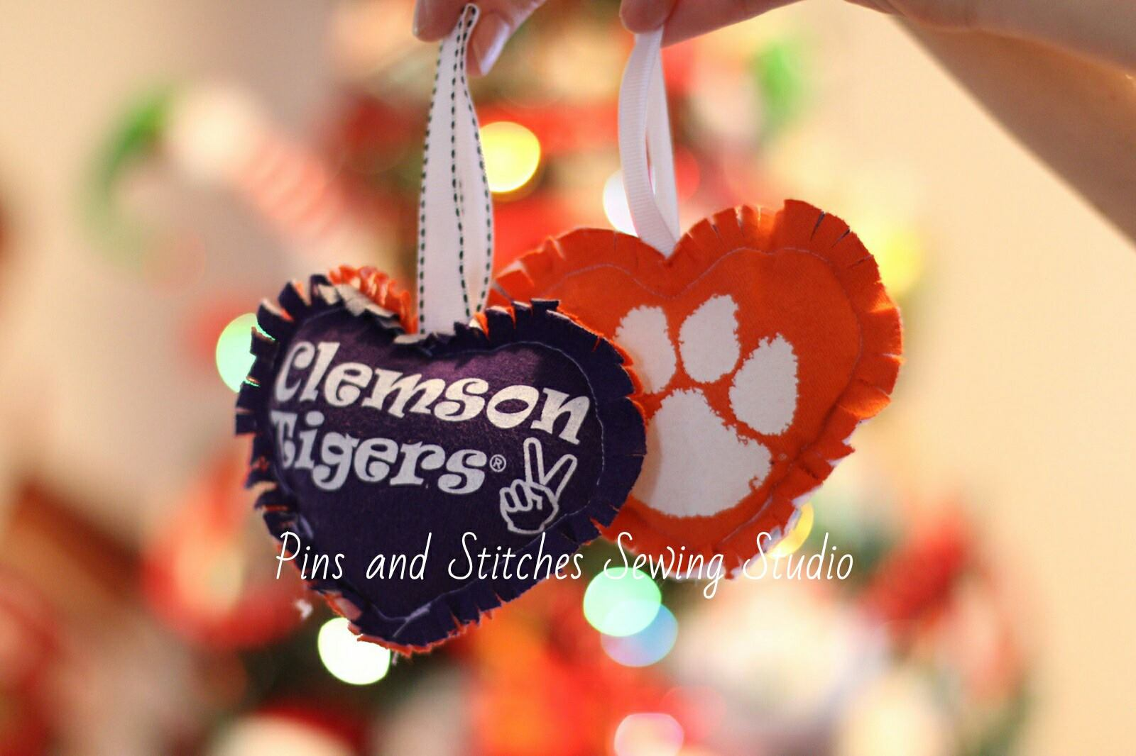 heart shaped ornaments pins and stitches sewing embroidery