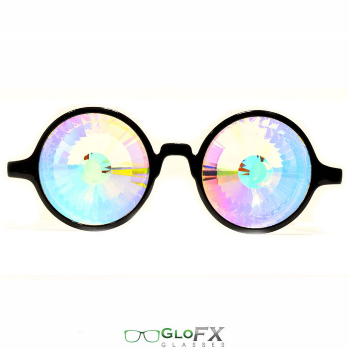 Rainbow Wormhole Kaleidoscope Glasses with Black Frame
