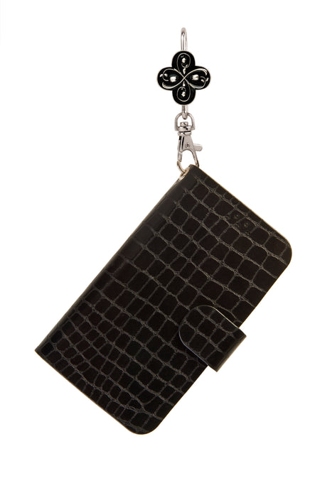 Black Phone Key'Purse Diary Case with Vintage Black