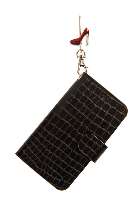 Black Phone Key'Purse Diary Case with Jen Pump